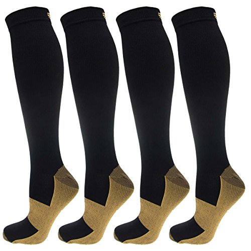 4 Pairs of Miracle Copper Infused Anti-Fatigue Compression Knee-High Health Socks