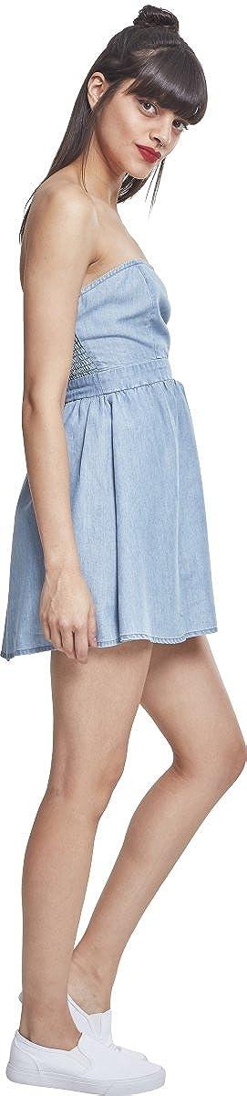 Urban Classics Ladies Denim Bandeau Dress Vestito Donna