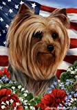Yorkie Dog Breed Patriotic House Flag 28 x 40 Inches Show Cut Review