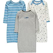 Wan-A-Beez Baby 3 Pack Printed Gown - Grey Car Assorted 0-6M