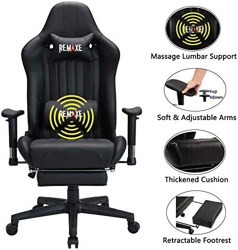 Large Size Gaming Chair High-Back PC Racing Chair Headrest Lumbar Massager Cushion Ergonomic Swivel PC Racing Chair with Retractable Footrest,PU Leather Executive Home Computer Chair black-04