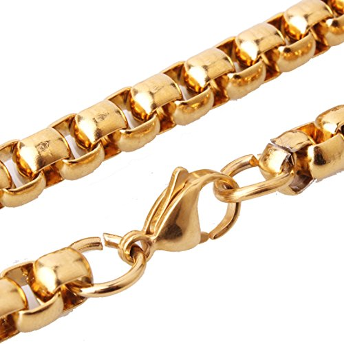 5mm Rolo Link (Womens Mens 5mm Stainless Steel Gold Rolo Cable Wheat Chain Link Necklace 40 inches)