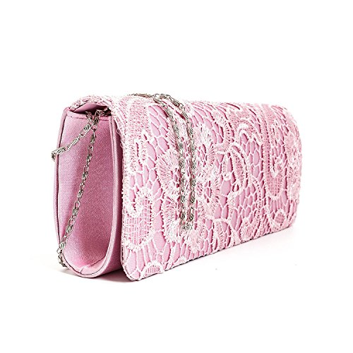 Wedding Satin Party Ladies Bag Floral Evening Designer Clutch Purse Pink Womens Lace Handbag qOP1ZZWv