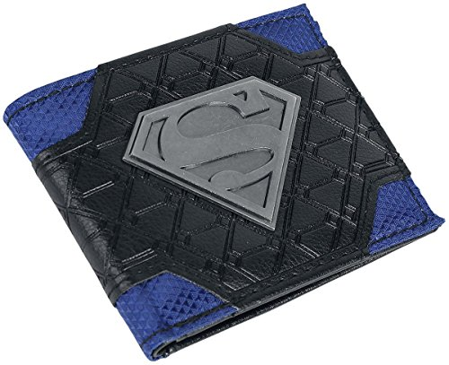 Metal Badge Chain Wallet - Mix Material Superman Logo Metal Badge Bifold Wallet