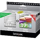 LEXMARK Pack 2 Cartouches Jet d'encre Original N°36XL et N°37XL HC Noir + Couleur