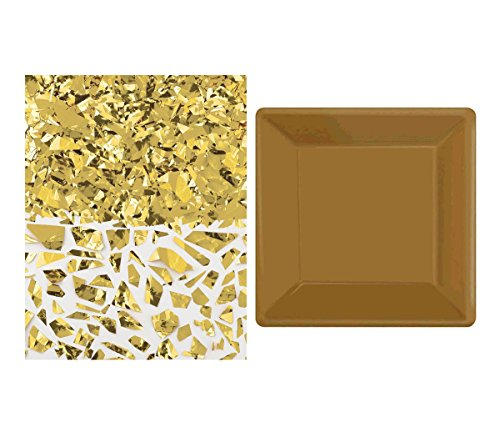 Mozlly Value Pack - Amscan Gold Square Dessert Paper Plates (20pc Set) AND Gold Sparkle Foil Shred - 1.5oz - For Invitations, Table Decoration and More (2 Items)