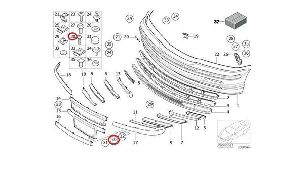 BMW Genuine Lateral Trunk Floor Trim Panel Spacer Bush Black 740i 740iL 740iLP 750iL 750iLP 525i 528i 530i 540i 540iP M5 320i 323i 325i 325xi 328i 330i 330xi Z4 2.5i Z4 3.0i Z4 3.0si Z4 M3.2 Z4 3.0si Z4 M3.2