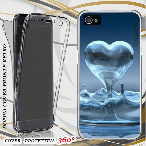 CUSTODIA COVER CASE SCHIZZO CUORE PER IPHONE 4 FRONT BACK