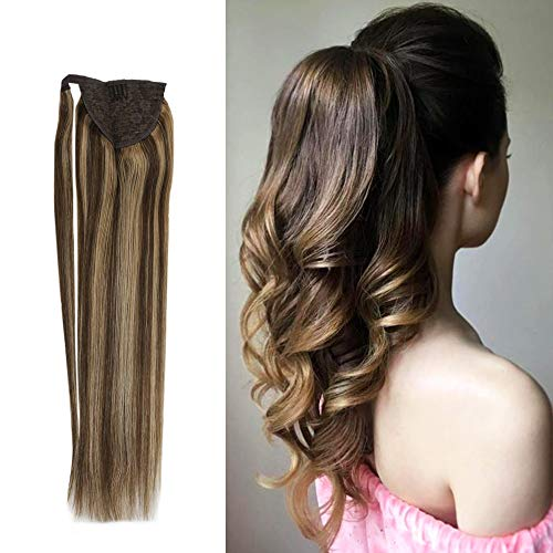 YoungSee 16inch Ponytail Clip in Human Hair Dark Brown Highlighted with Caramel Blonde Dip Dyed Wrap Ponytail Hair Extensions Hair Piece 80G