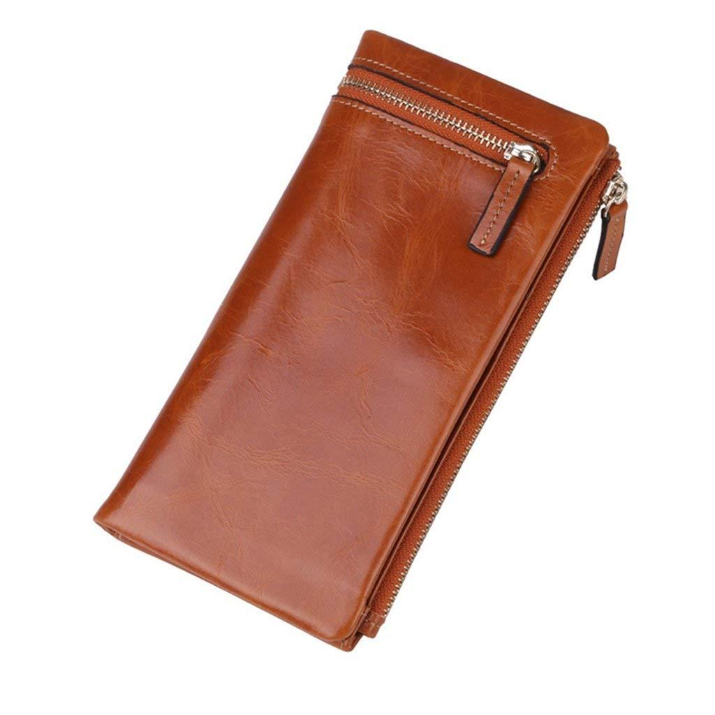 7 Soft Women's Leather Wallets RFID Blocking Vintage Design Large Capacity Handbag (color    1)