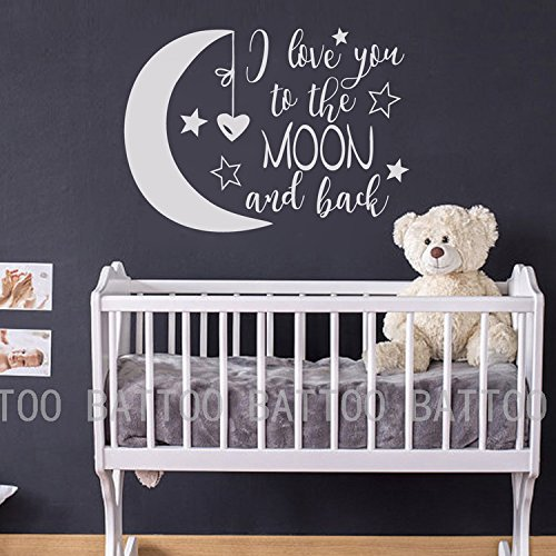 BATTOO I Love You To The Moon and Back- Moon and Stars Wall Sticker Baby Nursery Wall Decor - Kids Room Wall Decal Quotes - Baby Crib Wall Decor(white, 40