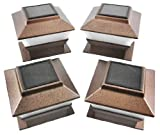 Set of 4 Bronze Finish 4 x 4 Deck & Post Cap Solar Light