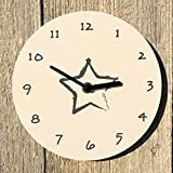 The Brushstroke Star White Wall Clock, Quartz Movement, Engineered Wood, 8 Inches, Analog Timepiece, Battery Powered, 1 AA Required, Plastic, By Whole House Worlds