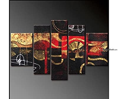 Framed Modern Black and Red Asymmetric Wall Art Oil Painting 5 Piece