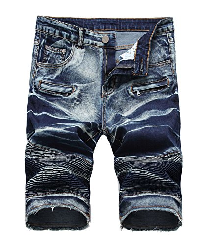 FREDD MARSHALL Men's Fashion Washed Moto Biker Ripped Cropped Zipper Jean Shorts Dark Blue