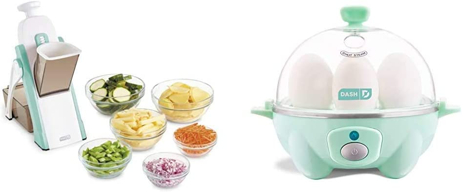 DASH Safe Slice Mandoline, Aqua & Rapid Egg Cooker: 6 Egg Capacity Electric Egg Cooker for Hard Boiled Eggs, Poached Eggs, Scrambled Eggs, or Omelets with Auto Shut Off Feature - Aqua