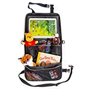 Backseat Organizer Bag w/ Touchscreen Tablet Holder (2 In 1) Multipurpose Car, SUV, Stroller Storage | Multiple Pockets for Baby Accessories, Kid's Toys, Snacks | Easy to Clean