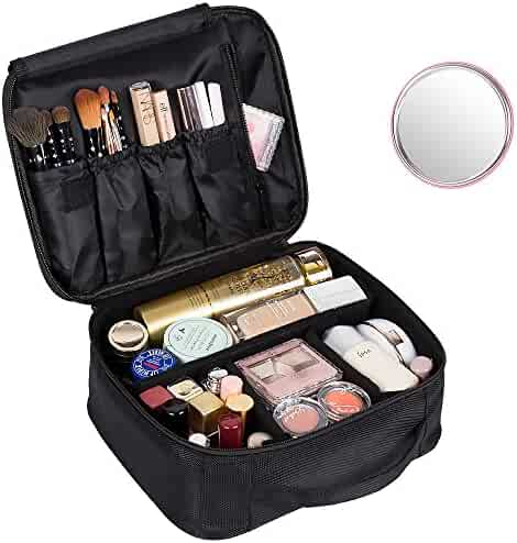 DreamGenius Portable Travel Makeup Bag Makeup Case Organizer with Large Capacity and Adjustable Dividers