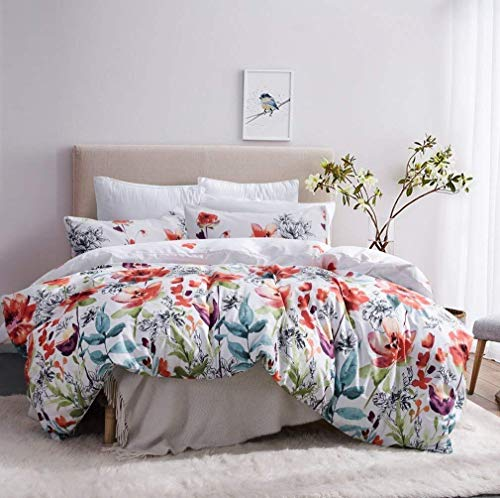 (Leadtimes Duvet Cover Set Queen Duvet Cover Floral Boho Hotel Bedding Sets Comforter Cover with Soft Lightweight Microfiber 1 Duvet Cover and 2 Pillow Shams (Queen, Style2))