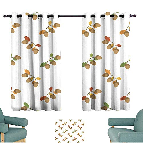 - Warm Family Customized Curtains Seamless Autumn Pattern with Acorns and Leafs for Living, Dining, Bedroom (Pair)
