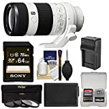 Sony Alpha E-Mount FE 70-200mm f/4.0 G OSS Zoom Lens with 64GB Card + NP-FW50 Battery & Charger + 3 Filters + Kit for A7, A7R, A7S Mark II Cameras