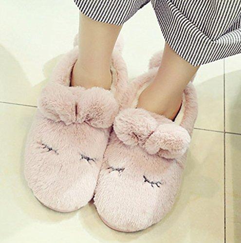 Womens Fleece Warm Bunny Slippers Indoor Home Cute Slippers Huis Schoenen Rood