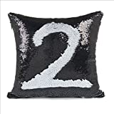 "EORTA Sequin Pillow Cases Glitter Mermaid Pillow Covers 16""x16"" Reversible Square Throw Cushion Cases for Bed Sofa Home Decoration Play, Black+White"