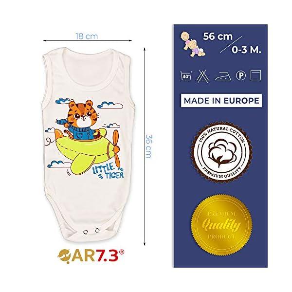 QAR7.3 Completo Vestiti Neonato 0-3 mesi - Set Regalo, Corredino da 5 pezzi: Body, Pigiama, Bavaglino e Cuffietta (Blu… 4