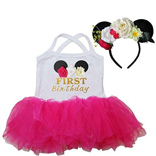 Kirei Sui Birthday Ballet Tutu Bodysuit Headband XL Hot Pink (Minnie Mouse 1st Birthday Dress)