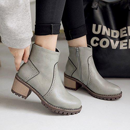 YE Damen Chunky Heels Ankle Boots Plateau Stiefeletten mit Reißverschluss und Absatz 6cm Bequem Schuhe Grau