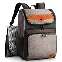 HapTim Diaper Bag Backpack Large Capacity/Wide Open Easy Organize/Comfortable/Fashion Cool Gift for Newborn Mother Father(Gray+Brown-5309)