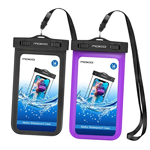 Price comparison product image [2 Pack] Universal Waterproof Phone Pouch,  MoKo IPX 8 Waterproof Phone Case Dry Bag with Armband & Neck Strap for iPhone X / 8 Plus / 8 / 7 / 6S Plus,  Samsung Galaxy S9+ / S9,  BLU,  MOTO - BLACK + PURPLE