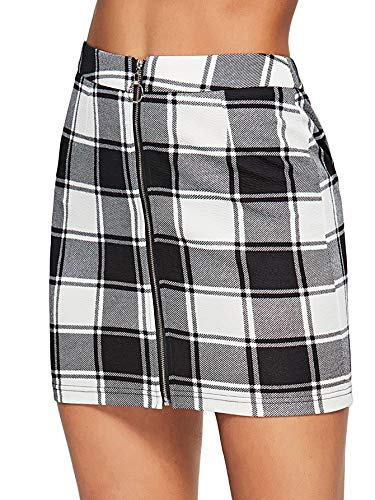 WDIRARA Women's Casual Mid Waist Above Knee O-Ring Zipper Front Plaid Skirt Black and White L ()
