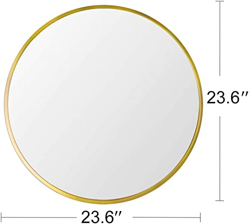 Beauty4U Large Round Metal Frame Mirror, 23.6 Wall-Mounted Mirror for Bedroom, Bathroom, Living Room, Entryway, Vanity Mirror, Gold