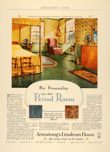 1928 Ad Armstrong Linoleum Floor Marble Inlaid Jaspe - Original Print (Inlaid Marble)