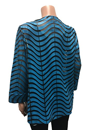 IC Collection Faux Leather Designer Jacket in Blue 2596 (Medium) by IC Collection (Image #3)