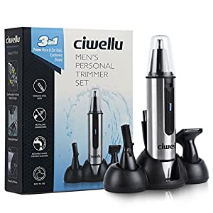 Nose Ear Hair Trimmer-Waterproof Stainless Steel 3 in 1 Nose Beard and Eyebrow Hair Clipper for Men Women,LED Light with Battery Operated by Ciwellu