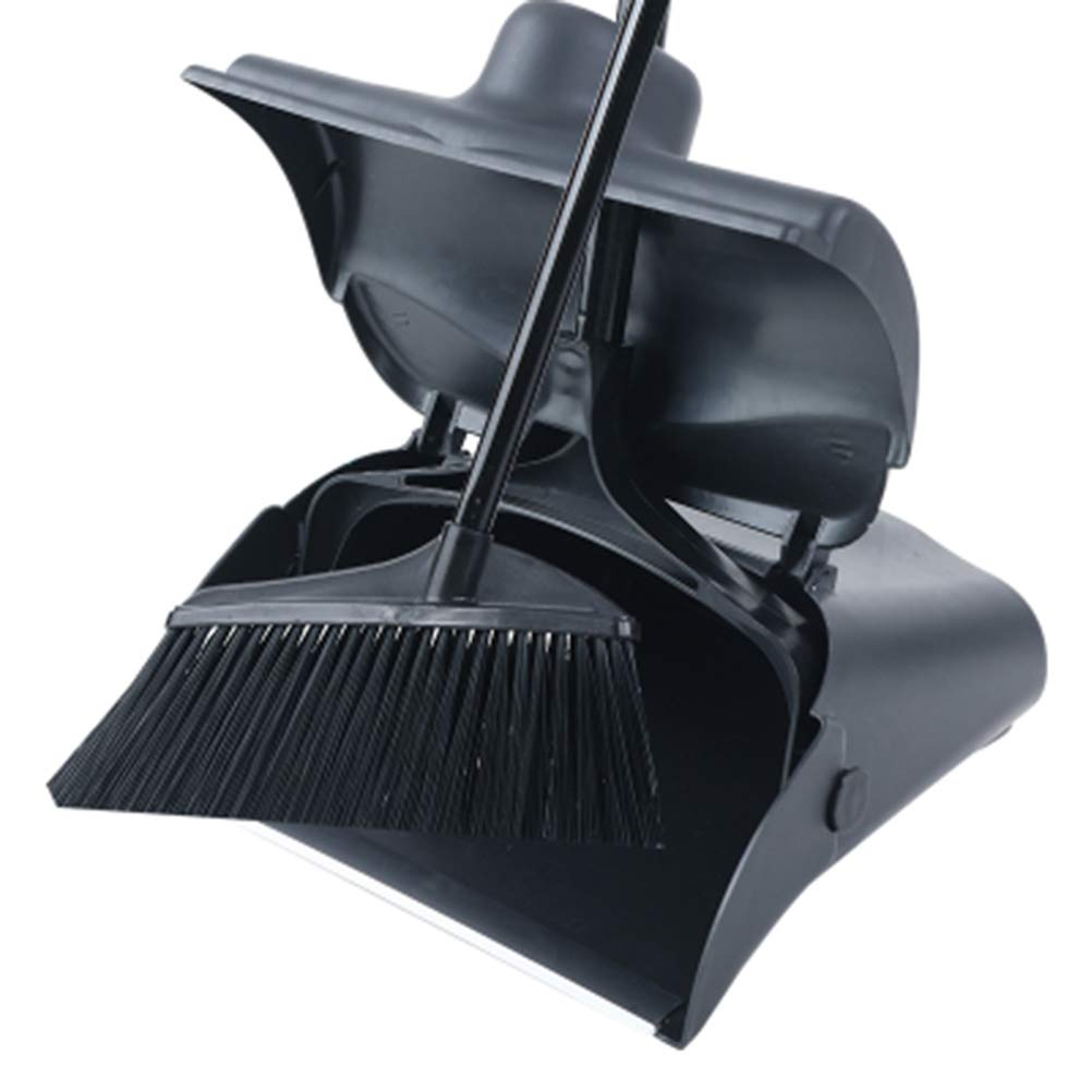 Lobby Dustpan With Self-Closing Lid And Broom,Long Handled Dustpan And Brush Set, Strong Stainless Steel Metal Handles,Black