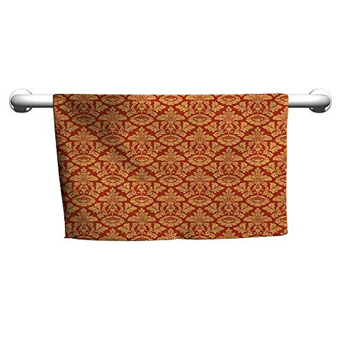 duommhome Antique Soft Superfine Fiber Bath Towel Royal Victorian Damask Pattern Baroque Rococo Old Fashioned Traditional Art W10 x L10 Vermilion Orange ()