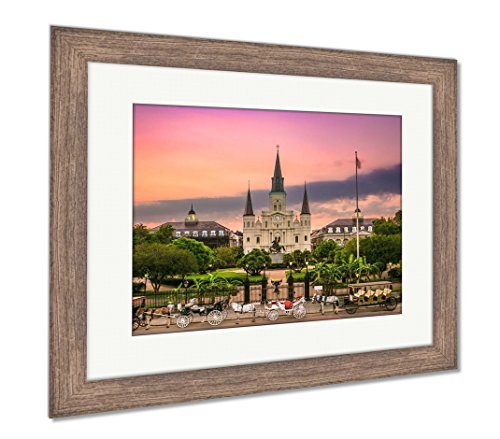 Ashley Framed Prints New Orleans Louisiana at Jackson Square, Wall Art Home Decoration, Color, 30x35 (Frame Size), Rustic Barn Wood Frame, AG6084127
