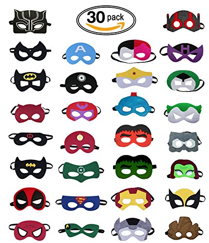 Super Hero Party Mask (Big Squad) - 30 Piece Party Masks for (Superman And Captain America Combined)