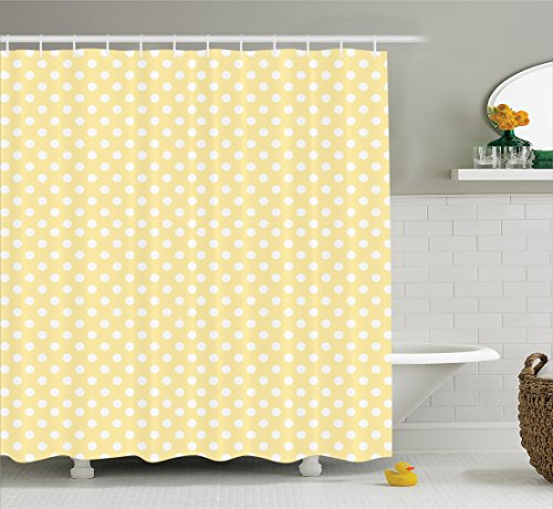 Ambesonne Polka Dots Home Decor Shower Curtain Set, Nostalgic Pastel Polka Dots in Never Ending Path Vintage Old-Fashion Artwork, Bathroom Accessories, 69W X 70L Inches, Yellow White (Art Fashion Vintage)
