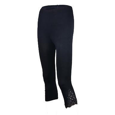 Aelegant Damen Sommer Modal 3 4 Länge Leggings Caprihose Freizeit Leggins  Strumpfhose Stretch Pants mit fe19cc4cbb