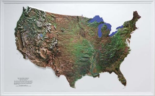 21 Relief Map Raised - UNITED STATES (Mainland Only) Satellite Version Raised Relief Map NCR Style with Black Plastic Frame