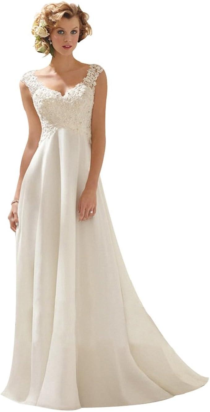 BOMOVO Damen A-Linie Lang Spitze Chiffon Brautkleid Hochzeitskleid
