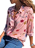 Dokotoo Womens Tops and Blouses Casual Summer Autumn Floral Flower Print Button Down Soft Henleys Tunic Shirts Tops Blouse Pink Large
