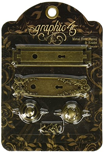 (Graphic 45 Staples Metal Door Plates & Knobs, Antique Brass)
