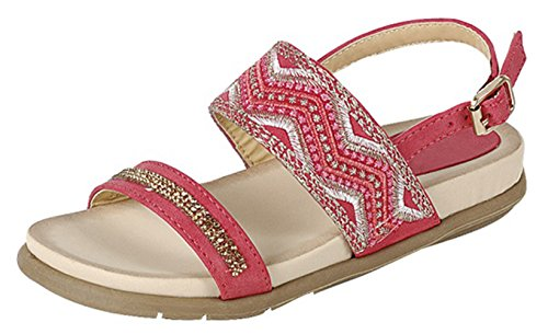 - Top Pink Soft Embroidered Sequin Sandal Bedazzled Glittery Cut Out Round Toe Side Buckle Strap Classic Fun Inexpensive Comfortable Flat Shoe for Little Girl Her (Size 12, Pink)