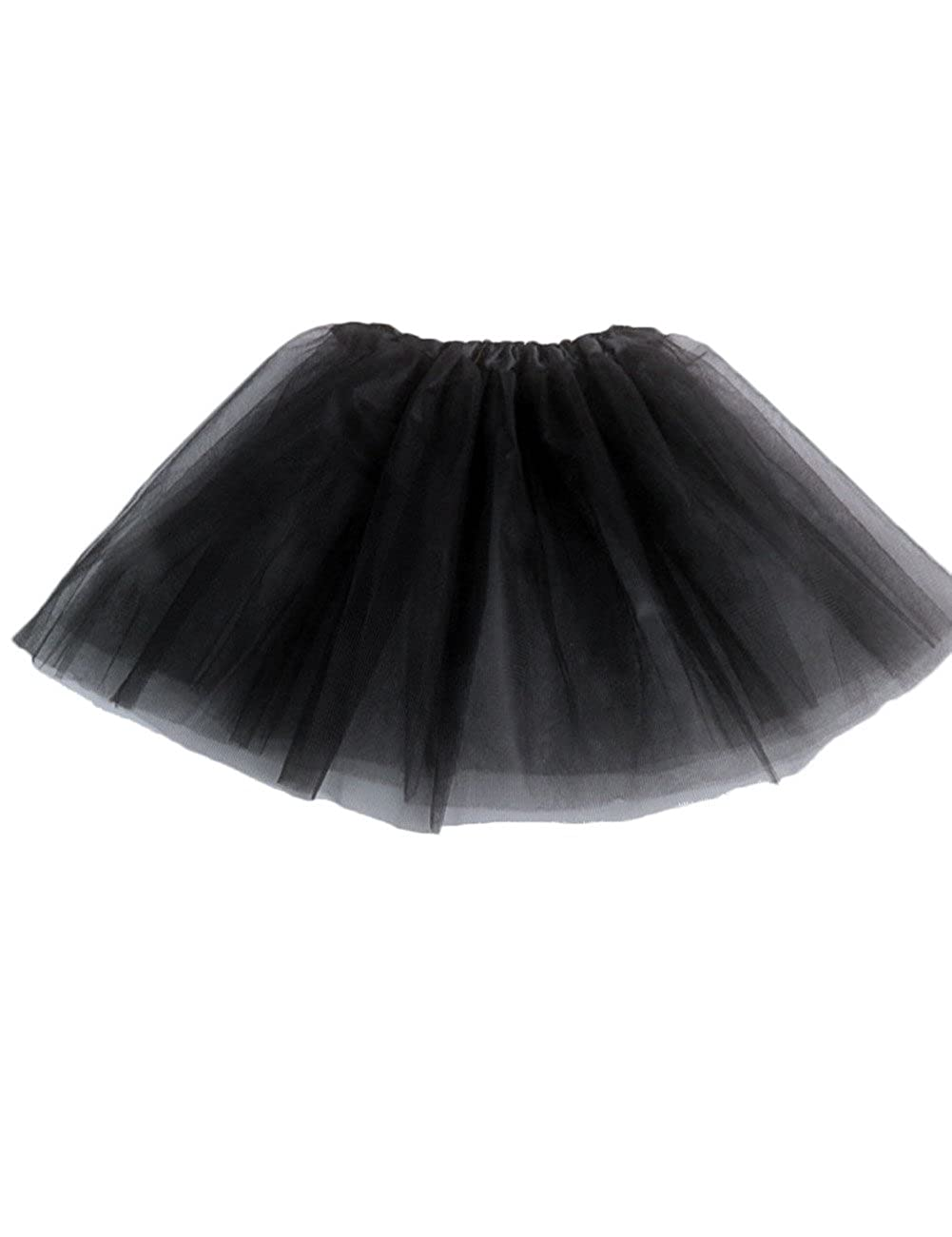 Jacobera Kids Elastic Waist Layered Ballet Tulle Rainbow Tutu Skirt with Hair Bows