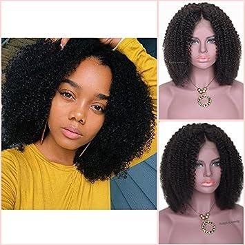 18b467d43638 Perruque intégrale afro carrée et courte, cheveux brésiliens bouclés  naturels, dentelle intégrale